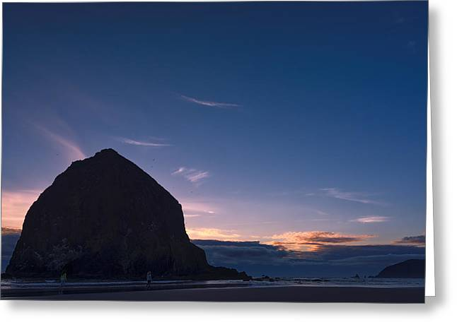 Refection Greeting Cards - Haystack Rock Dusk Greeting Card by Joan Carroll