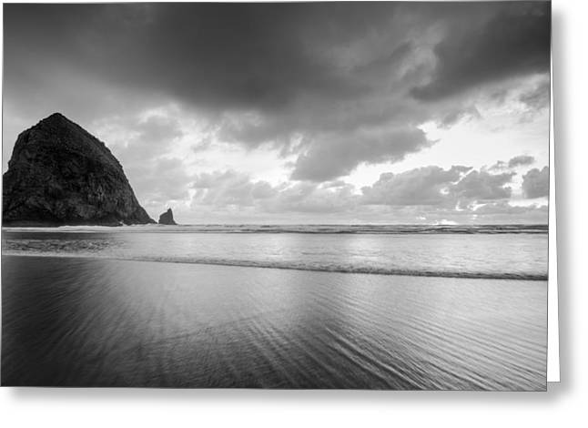 Ocean Art Photgraphy Greeting Cards - Cannon Beach Monochrome Greeting Card by Heather K Jones