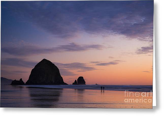 Surf Silhouette Greeting Cards - Haystack Rock Twilight Greeting Card by Brian Jannsen
