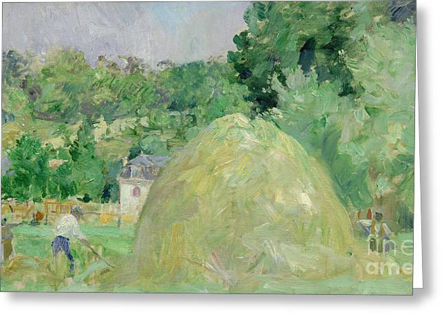 Morisot Canvas Greeting Cards - Haystacks at Bougival Greeting Card by Berthe Morisot