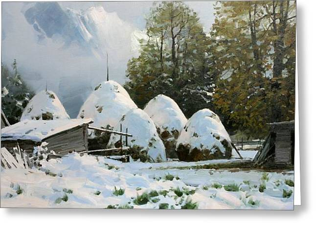 Print On Acrylic Drawings Greeting Cards - Haystacks. first Snow Greeting Card by Aleksander Babich