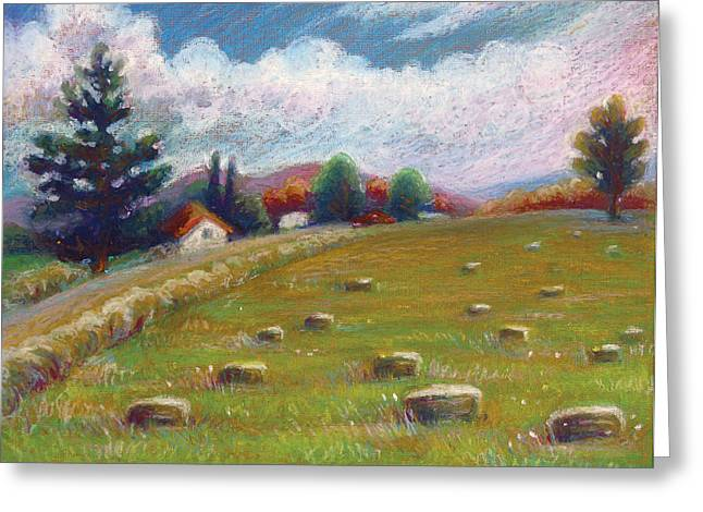 Bale Pastels Greeting Cards - Haystacks in Field Greeting Card by Renee Peterson