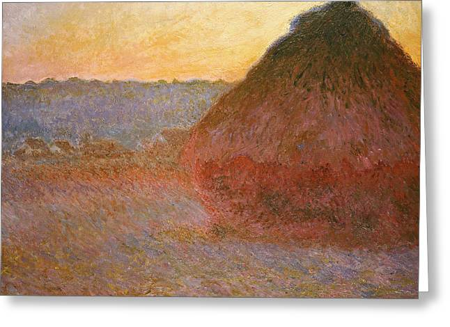 Haystack Greeting Cards - Haystacks, Pink And Blue Impressions Greeting Card by Claude Monet