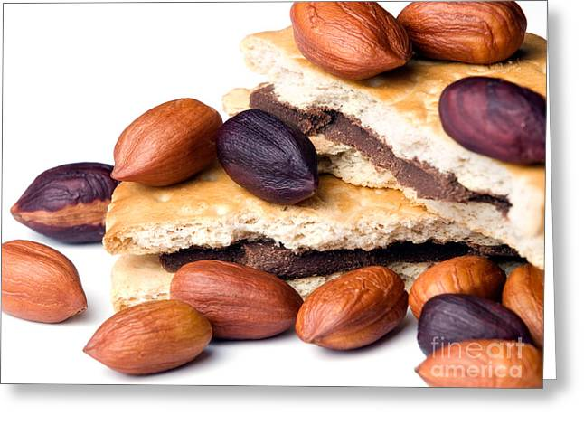 Filbert Greeting Cards - Hazelnuts and cookies Greeting Card by Sinisa Botas