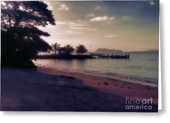 Hazey Samoan Sunset Greeting Card by Karen Lewis