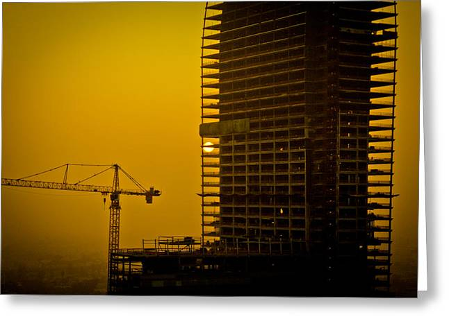 Building Crane Greeting Cards - Hazy afternoon  Greeting Card by Gabriel Peralto