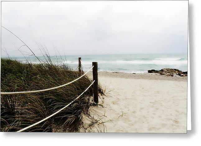 Julie Palencia Greeting Cards - Hazy Beach Day Greeting Card by Julie Palencia