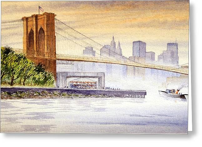 Famous Bridge Greeting Cards - Hazy Day At Brooklyn Bridge Greeting Card by Bill Holkham