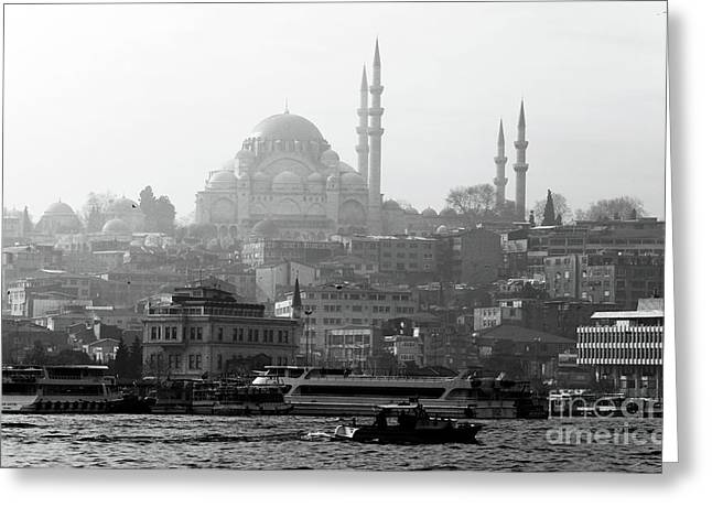 Hazy Days Greeting Cards - Hazy Day in Istanbul Greeting Card by John Rizzuto