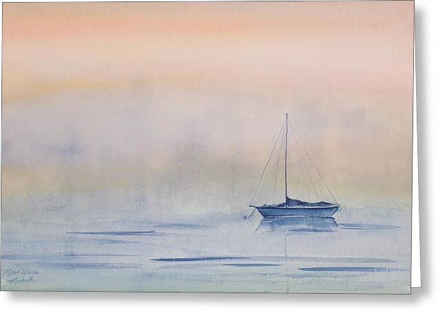 Foggy Ocean Paintings Greeting Cards - Hazy Day Watercolor Painting Greeting Card by Michelle Wiarda