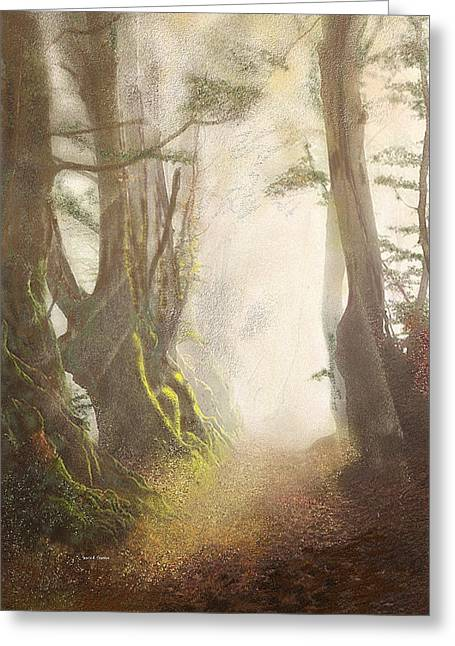 Haze Paintings Greeting Cards - Hazy Fall Forest Light Greeting Card by Angela A Stanton