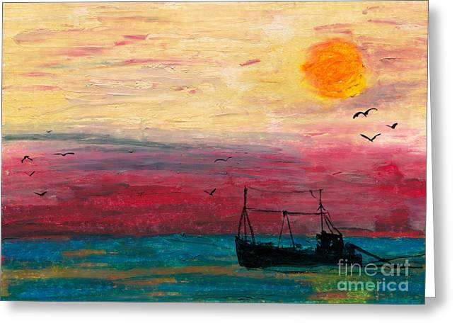 Masts Pastels Greeting Cards - Hazy Late Greeting Card by R Kyllo