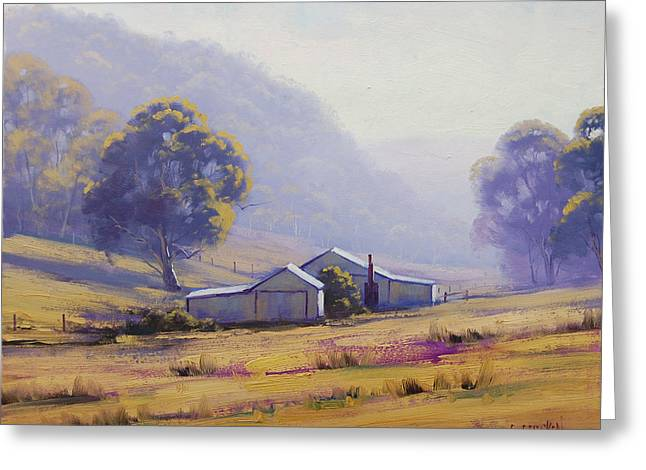 Shed Greeting Cards - Hazy Morning Greeting Card by Graham Gercken
