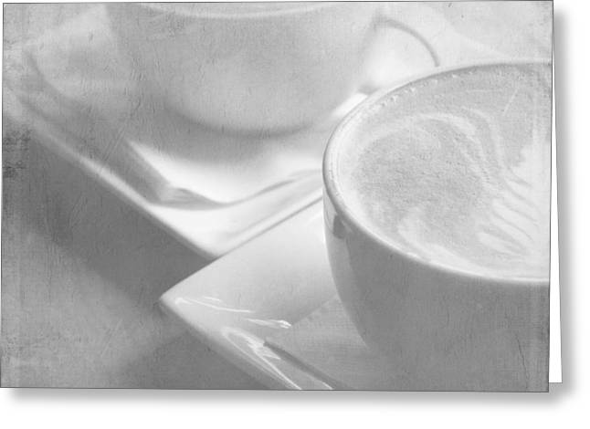 Two Coffee Cups Greeting Cards - Hazy Morning Moments 2 Greeting Card by Lisa Parrish