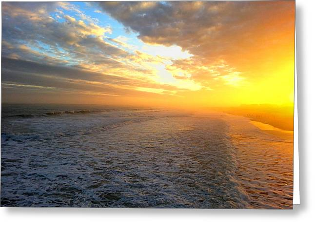 Saltlife Greeting Cards - Hazy Oceanic Sunset Greeting Card by Karen Rhodes
