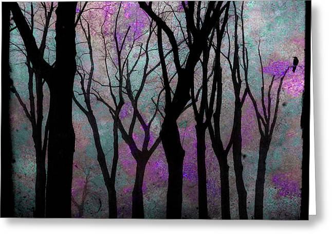 Art In Squares Greeting Cards - Hazy Purple Greeting Card by Gothicolors Donna Snyder