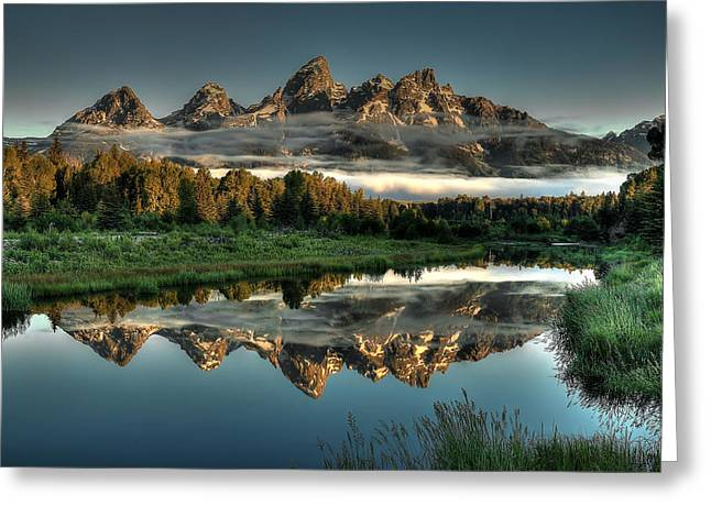 Cabin Greeting Cards - Hazy Reflections at Scwabacher Landing Greeting Card by Ryan Smith