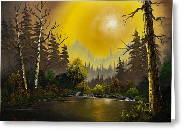 Bob Ross Paintings Greeting Cards - Sunset Glow Greeting Card by C Steele