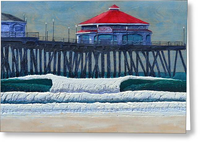 Wood Carving Greeting Cards - HB Pier Greeting Card by Nathan Ledyard