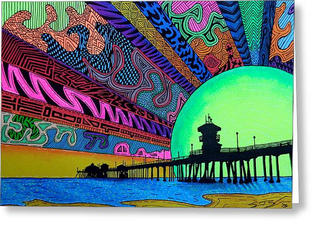Surf Silhouette Paintings Greeting Cards - HBdazzle Greeting Card by Sam Bernal