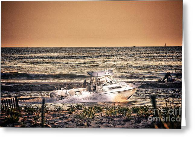 Oceanview Greeting Cards - HDR Beach Boat Boats Ocean Oceanview Seascape Sea Shore Photos Pictures Photography Pics Greeting Card by Pictures HDR