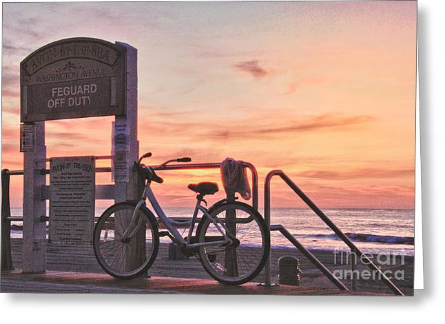 Sell Art Online Greeting Cards - HDR Beach Ocean Sunrise Boardwalk Bike Seaview Art Print Avon NJ  Greeting Card by Pictures HDR