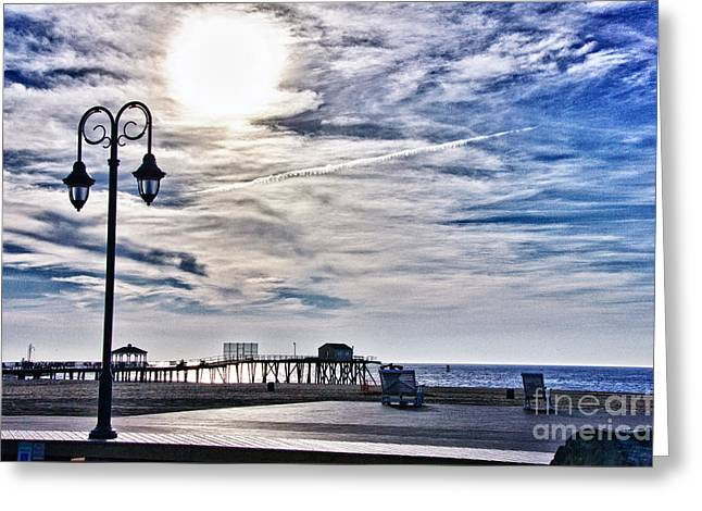 Wave Image Greeting Cards - HDR Beachtown Beach Ocean Sand Pier Sunrise Clouds Relaxation Photography Photos Sale Gallery Buy  Greeting Card by Pictures HDR