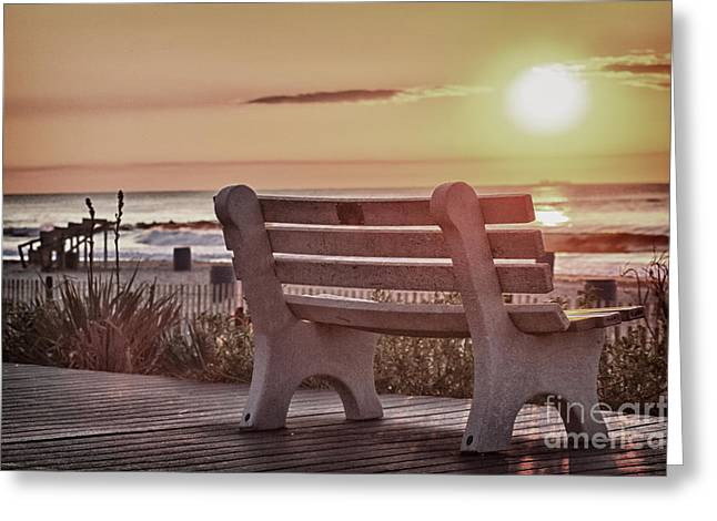 Surfing Photos Greeting Cards - HDR Belmar Boardwalk Sunrise Scenic Ocean Seascape Sea Photo Photography Picture Art Image Buy Sell  Greeting Card by Pictures HDR