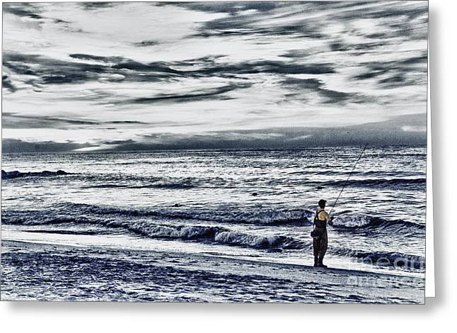 Hdr Effects Greeting Cards - HDR Black White Color Effect Fisherman Beach Ocean Sea Seascape Landscape Photography Image Photo  Greeting Card by Pictures HDR