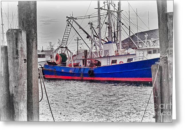 Old Fishing Boat Greeting Cards - HDR Boat Boats Beach HDR Ocean Old Fishing Boat Harbor Bay Scenic Photos Pictures Photography Pics  Greeting Card by Pictures HDR
