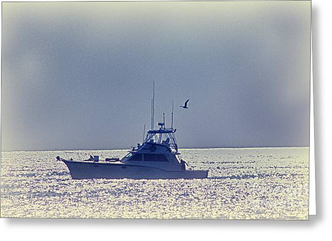 Hdr Photo Greeting Cards - HDR Boat Fishing Ocean Sea Seascape Beach Photo Photography Picture Gallery Art Scenic Sunrise  Greeting Card by Pictures HDR