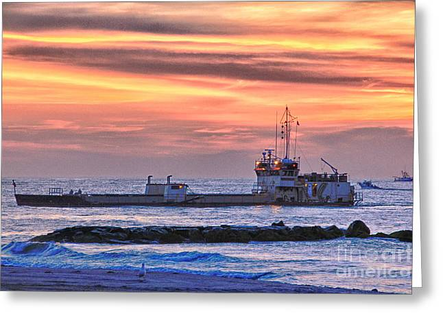 Hdr Photo Greeting Cards - HDR Boat Sea Ocean Beach Sunrise Scenic Seascape Photography Gallery Photo Picture Boats Greeting Card by Pictures HDR