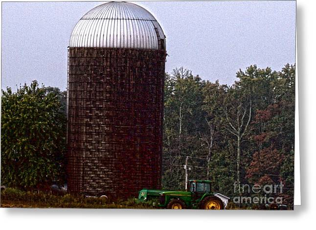 Hdr Brown Silo And Tractor Greeting Card by Lesa Fine