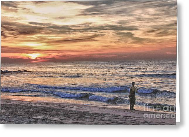 Hdr Photos Greeting Cards - HDR Cloudy Sunrise Fishing Beach Ocean Sea Photo Picture Photography Gallery Sale Buy Sell Art  Greeting Card by Pictures HDR