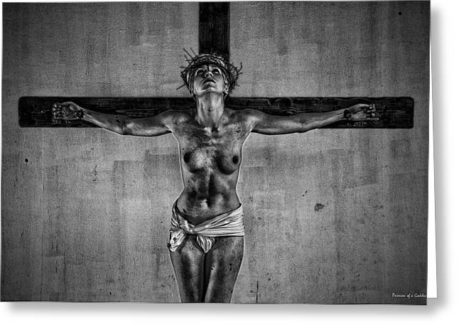 Injustices Greeting Cards - HDR Crucifix Black and White Greeting Card by Ramon Martinez