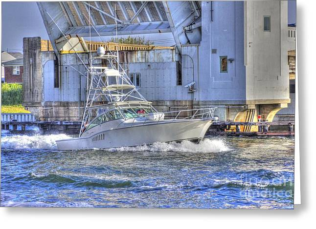 Oceanview Greeting Cards - HDR Fishing Boat Boats Ocean Sea Bay Harbor Bridge Photos Pictures Photography Scenic Buy Photo Sell Greeting Card by Pictures HDR
