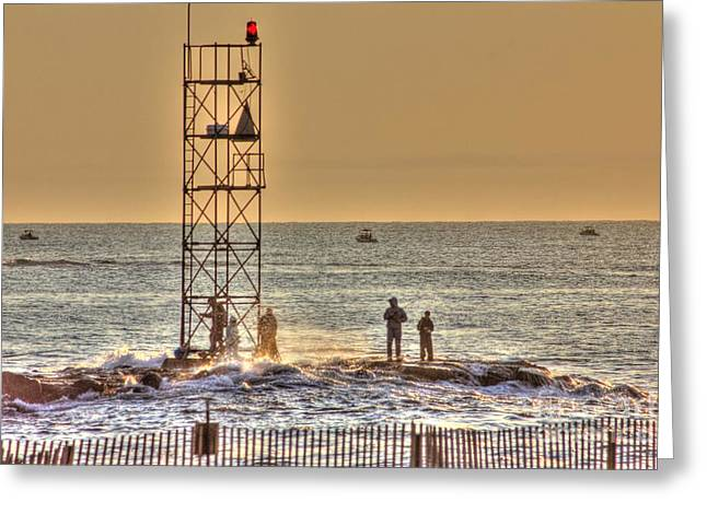 Beach Photos Greeting Cards - HDR Gold Skies Fishing Rocks Beach Ocean Photography Art Photos Pictures Scenic Oceanview Boats Pics Greeting Card by Pictures HDR