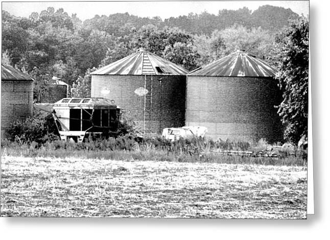 Farming Greeting Cards - HDR Grain Bins BW Photography Greeting Card by Lesa Fine