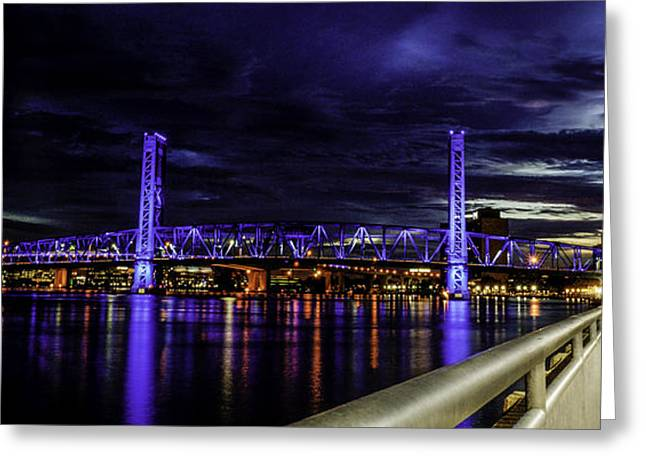 Jacksonville Pyrography Greeting Cards - HDR Jacksonville bridge Greeting Card by Alex Heath