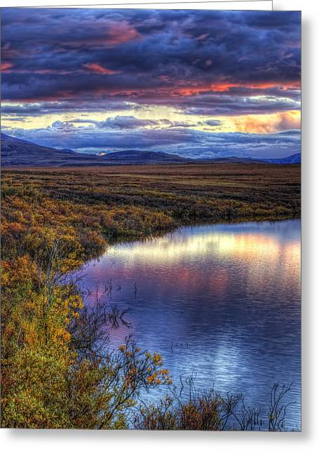 Hdr Landscape Greeting Cards - Hdr Of Sunset Over Two Moose Lake Along Greeting Card by Robert Postma