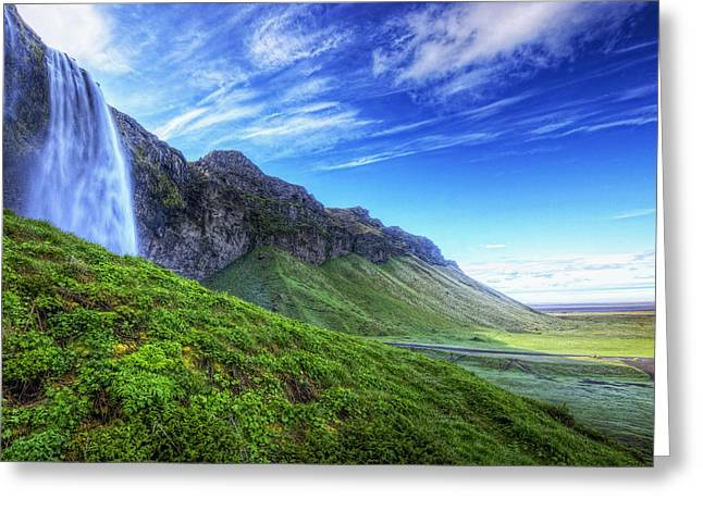 Hdr Landscape Greeting Cards - Hdr Of Waterfall Seljalandsfoss Greeting Card by Robert Postma