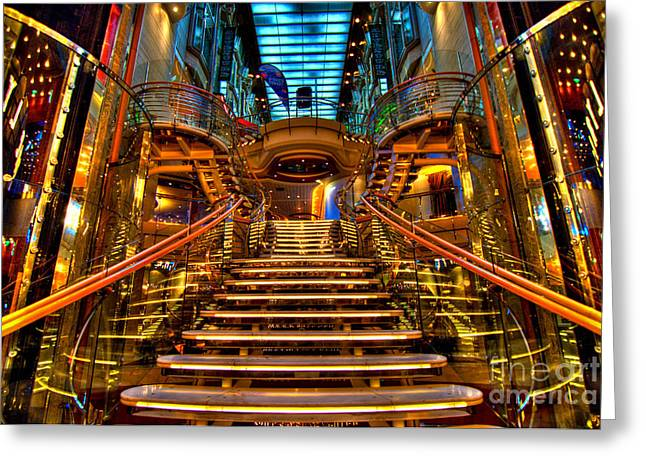 Adventure Of The Seas Greeting Cards - HDR Staircase Cruise Ship Greeting Card by Amy Cicconi