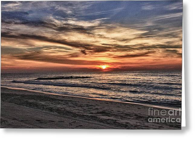 Surfing Photos Greeting Cards - HDR Sunrise Sun Clouds Ocean Beach Sand Brilliant SunLight Photography Photo Image Picture Gallery   Greeting Card by Pictures HDR