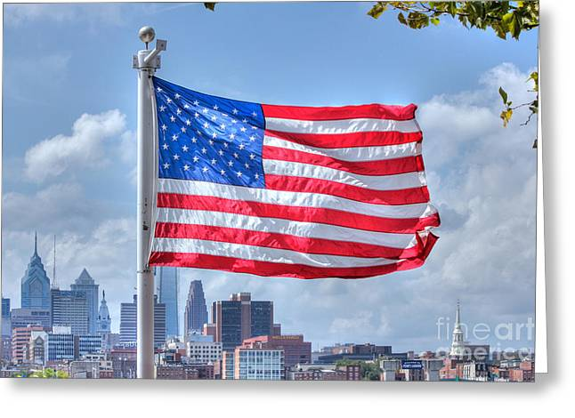 July 4th Image Greeting Cards - HDR US American Flag Patriotic America Philadelphia Background  Photo Picture Art Gallery Selling  Greeting Card by Pictures HDR