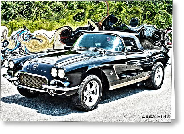 Automobilia Greeting Cards - Chevrolet Corvette Vintage with Curly Background Greeting Card by Lesa Fine