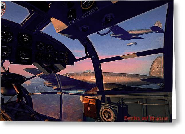German Aces Of Wwii Greeting Cards - He-111 Kampfgeschwader 55 Greif - Bomben auf Engeland Greeting Card by Vladimir Kamsky