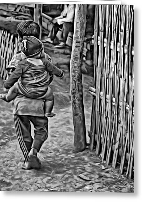 Recently Sold -  - Bamboo Fence Greeting Cards - He Aint Heavy bw Greeting Card by Steve Harrington