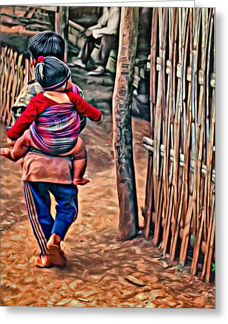 Recently Sold -  - Bamboo Fence Greeting Cards - He Aint Heavy... Greeting Card by Steve Harrington