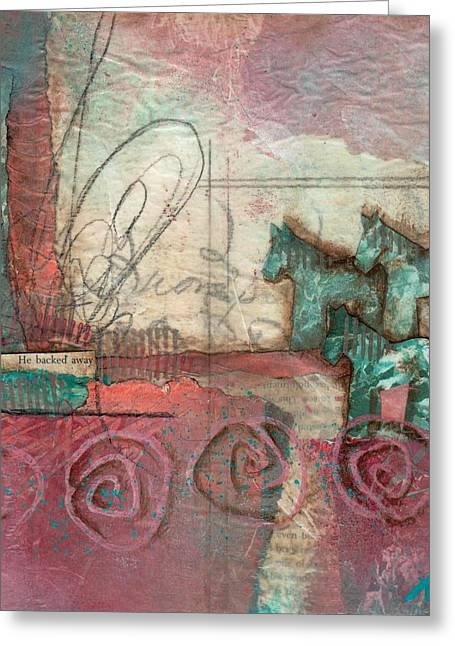 Printing Mixed Media Greeting Cards - He backed away  Greeting Card by Laura  Lein-Svencner