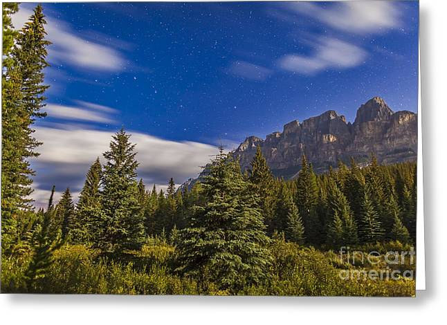 Castle In Valley Greeting Cards - He Big Dipper Over Castle Mountain Greeting Card by Alan Dyer